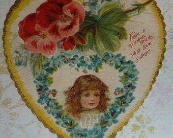 Red Geraniums and Little Girl in Forget-Me-Nots Antique Valentine