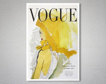 Vogue Cover July-August, 1950 Vintage Fashion Poster - Poster Print, Sticker or Canvas Print / Gift Idea