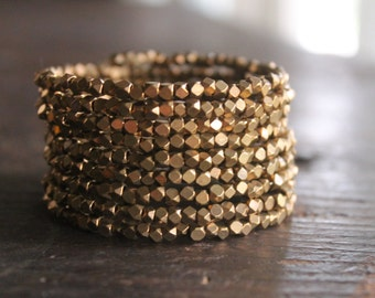 Paris Sparkly Brass Memory Wire Cuff Bracelet with Faceted Thai Beads - Glittering Holiday Bling - Also Available in Gold, Copper and Silver