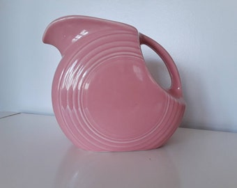 Vintage Fiestaware Pottery Dusty Rose Pink Disc Pitcher Ceramic Art Deco Mid Century