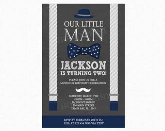 Little Man Birthday Party Invitation, Mustache Invitation, Suspenders, Bowtie, Hat, Navy Blue, Gray, Printable or Printed