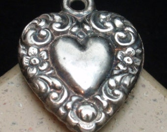 Puffy Heart Charm Vintage Sterling Silver Repousse on Both Sides REDUCED
