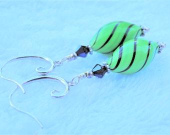 Murano Lime Green Glass Swirl Twist Earrings