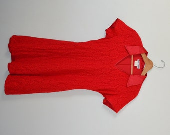 Vintage Red Dress Red Lace Dress V Neck Dress Juniors Dress Size 13