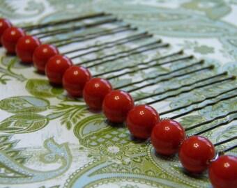 12 Coral Red 10mm Swarovski Crystal Pearl Hair Pins