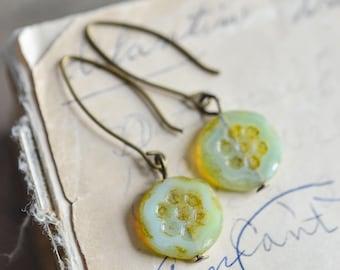 Pale Mint Green Antique Earrings, Czech Glass Beads, Brass, Neo Vintage Jewelry