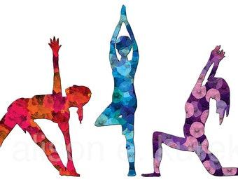 Yoga Print - Yoga Class Art Print in 5x7  White Mat - Yoga Gift - Colorful Yoga Print on White Background - Gift for Yoga Teacher
