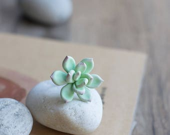 Green succulent ring - succulent jewelry - eco friendly jewelry - woodland ring - botanical one of a kind ring, garden nature ring
