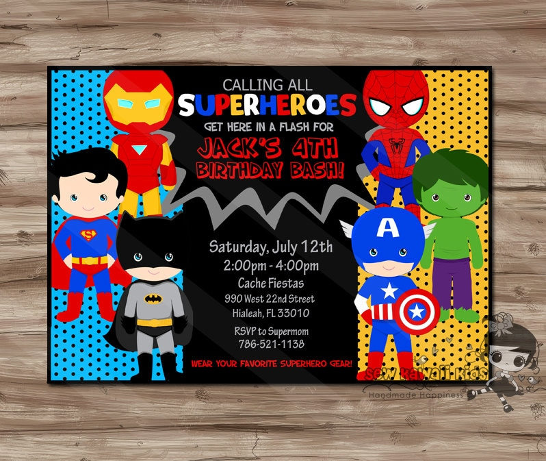 SUPERHERO Invitation Superhero Invitation Superhero Invitation