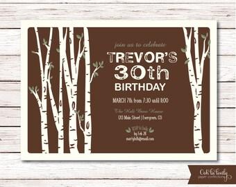 Rustic Birthday Party Invitation, Outdoorsy Birthday Party Invite, Birch Trees Invite, Printable, Masculine Invite