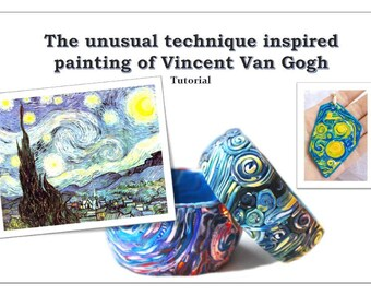 polymer clay tutorial vincent van gogh tutorial jewelry unique technique how to instructions pdf step by step digital INSTANT DOWNLOAD