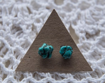 Turquoise Stone Studs, Turquoise Nugget, Boho Earrings, Sterling Silver