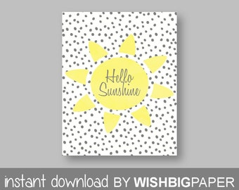 HELLO SUNSHINE Wall Art-Instant Download. Hello sunshine Print. Hello Sunshine Wall Art. Yellow Grey Nursery. Yellow Gray Nursery.