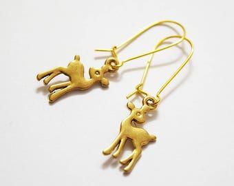 Cute Retro Deer Gold Tone Drop Earrings