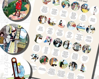 Mother Goose Nursery Rhymes Printables, ONE INCH CIRCLES (25 mm), with 1/2 inch (13mm) and 3/4 inch (20mm) circles also included