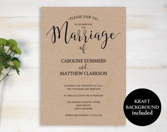 Printable Wedding Invitation, Rustic Wedding Invitation, Wedding Invite Template, DIY Invitation, Wedding Invite, Instant Download, MM06-2