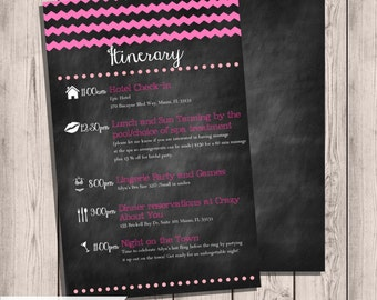 Bachelorette Party Itinerary, Chevron & Chalkboard Double-Sided, 5x7, Any Color, Custom Party Itinerary, Chalkboard Itinerary, Chalkboard