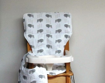 custom eddie bauer wooden high chair pad ready to ship, buffalo with matching bib, replacement cover, kids chair pad, baby furniture