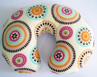 Colorful Starbursts fleece baby Boppy or nursing pillow cover
