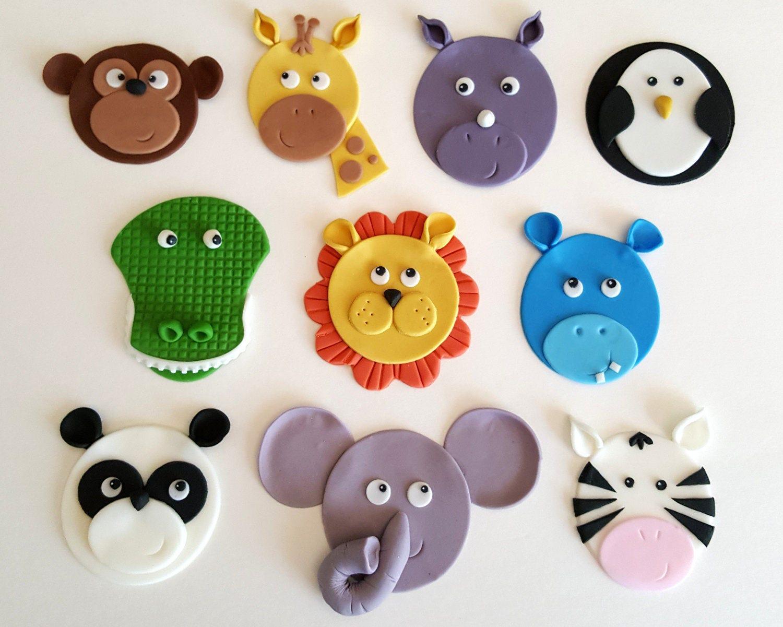Zoo Circus Safari Jungle Animal Cupcake Toppers Fondant