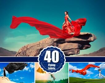 40 Flying fabric dress Photo Overlays, Photoshop Overlay, flowing cloth wave, silk waving flying satin, wedding, digital backdrop png file