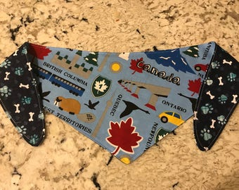 Tie-on Dog Bandana in Oh Canada & Navy Bone and Paw - XSmall/Small/Medium/Large/XLarge