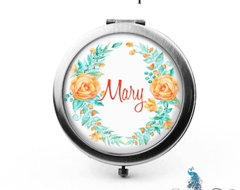 Compact Mirror Whimsical Summer Orange Teal Floral Wreath The Mary Bridesmaid Gifts Cosmetic Mirror Personalized Gifts Birthdays Weddings