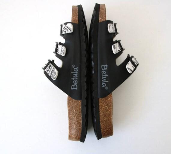 Straps Three Unisex Betula Sole Summer Cork Platform Slides Sandals Black Shoes Betula 43 White Original wIgOxq5nX1
