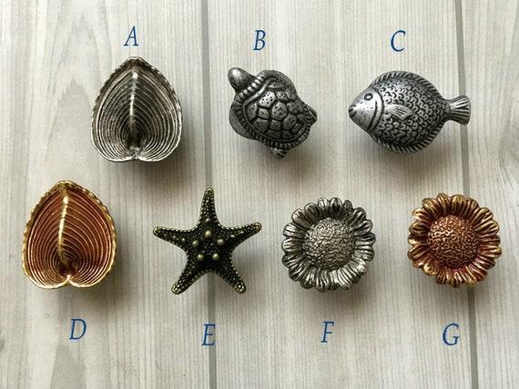 Starfish Turtle Fish Shell Floral Oyster Knob Dresser Knob