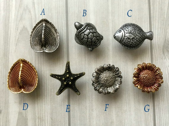 Starfish Turtle Fish Shell Floral Oyster Knob Dresser Knob Drawer Pulls  Handle Cabinet Door Knobs Antique Silver Black Pewter Lynns Hardware From  ...