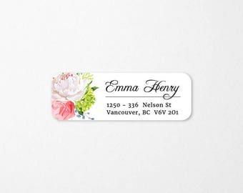 Personalized Return Address Labels, Return Address Stickers, Custom Self-Adhesive Labels, Floral Stickers, RAL 29