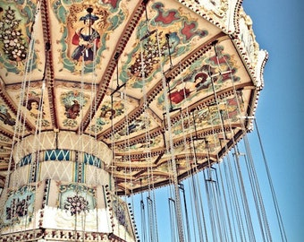 Carnival Swings Ride Fine Art Print- Carnival Art, County Fair, Nursery Decor, Home Decor, Children, Baby, Kids