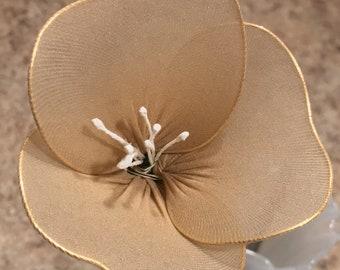 Wire & Nylon Orchid Flower (beige)