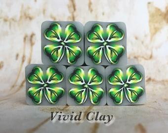 Polymer Clay Cane, Four Leaf Clover, raw