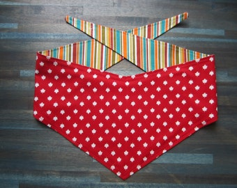 M-Lg reversible tie on dog bandana - Canada maple leaf/colorful stripes Kanine Kerchief
