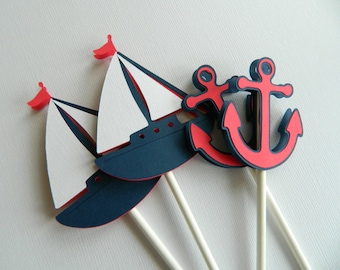 12 Nautical Cupcake Toppers Cupcake Toppers Sailboat Cupcake Toppers Nautical Baby Shower Nautical Birthday Party • Set of 12