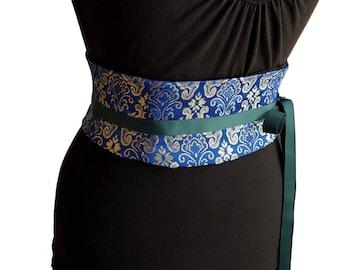 Brocade Corset Belt / Blue and Gold Waist Cincher / Wedding Obi / Wedding Corset / Formal Corset / Party Dress Belt / Metallic Corset