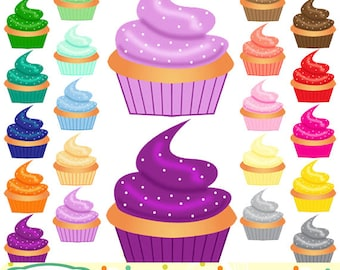 Cupcakes clip art, 20 designs. INSTANT DOWNLOAD for Personal and commercial use.