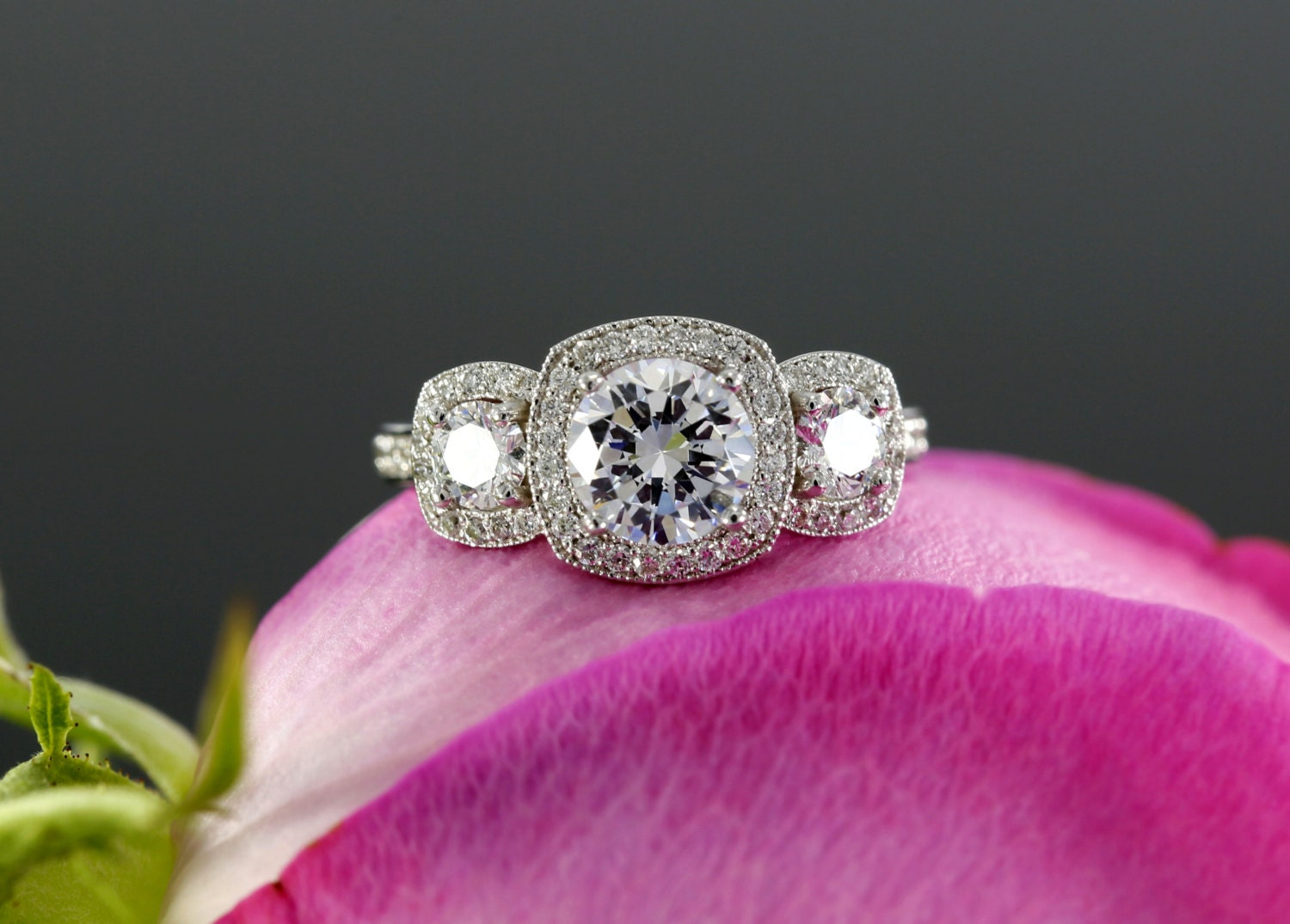 Moissanite Three Stone Halo Engagement Ring with Diamonds in