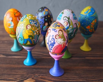 Hand Painted Easter eggs, wooden eggs decorated russian ornaments. Easter gift. Set of six