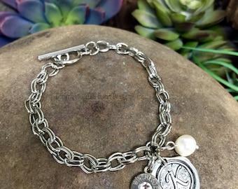 Bullet Bracelet, Custom Initial Bullet Bracelet, Freshwater Pearl Bracelet, Personalized Bracelet, Birthstone Bracelet, Charm Bracelet, 40