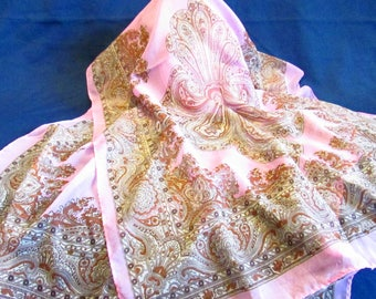 """Printed Silk And Rayon Chiffon Scarf In Soft Pink With Sienna Brown Design - New Unused - Summer Scarf - 20"""" x 61"""" - FREE SHIPPING."""