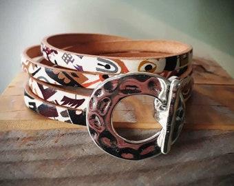 printed leather bracelet