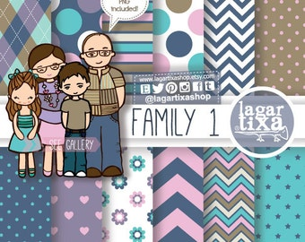 Family Clipart Set, PNG, family characters, Mom, Dad, kids, Childrens, Daughter & Son, brunette, with glasses, illustration