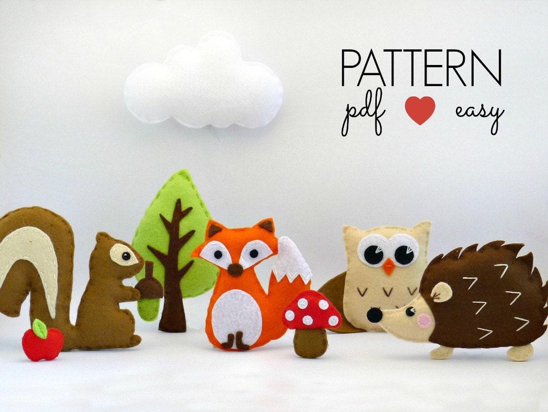Baby mobile pattern felt animal sewing pattern woodland zoom jeuxipadfo Image collections