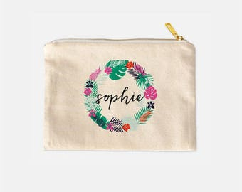 Personalized Cosmetic Bag, Pineapple Cosmetic Bag, Tropical Make Up Case, Cotton Canvas Cosmetic, Lined Makeup Bag, Cute Makeup Bag, 9.5 x 7
