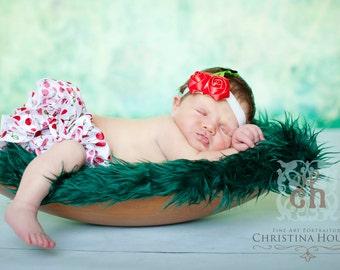 Hunter Green Mongolian Faux Fur Nest Photography Prop Rug Newborn Baby Toddler 27x20