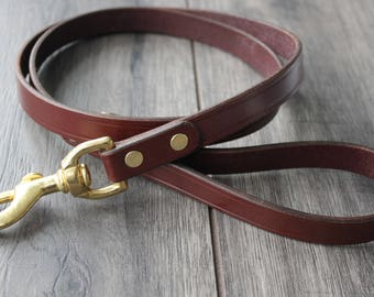 "Handmade leather dog lead 1"" wide from Bakers English bridle leather"