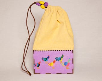 Wooden bag for women/hand made bag/gift for her/painted bag/wooden bag/Eco friendly, vegan bag/roosters