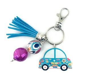 Volkswagon Bug Key Chain/VW Bug Key Chain/Volkswagon Beetle Key Chain/Peace/Flowers/70's/Groovy/Punch Buggy Key Chain